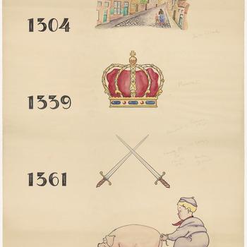 """Een tekening met als onderwerp de hertogen Reinald II en Reinald III en zijn broer Eduard. Afgebeeld zijn: een straat, een kroon, twee gekruiste zwaarden en een mannetje dat aan de staart van een varken trekt. Met de jaartallen 1304, 1339, 1361 en 1371 duidt de tekenaar verschillende gebeurtenissen aan uit de Tielse geschiedenis. In 1304 wordt door hertog Jan van Brabant de Linge afgedamd en ontstaat de Voorstad. In 1339 wordt Reinald II hertog van Gelre, en Tiel gaat over van Brabant naar Gelre. Het beleg van de stad Tiel door Reinald III tegen Eduard in 1361. Reinald III komt vrij in 1371 na tien jaar gevangenis en de macht wordt verdeeld. Reinald III wordt  ook wel de """"Vette"""" genoemd en mogelijk heeft dat met het afgebeelde varken te maken en het trekken aan de staart met de machtsstrijd die ontstond na zijn overlijden in 1371, 1304-1371"""