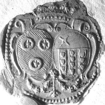Zegel van: Quirinus Ramaker d.d. 15 aug. 1739 schepen in de Hoge Bank van Driel. NB. Hij zegelt met het alliantiewapen Ramaker-de Cocq