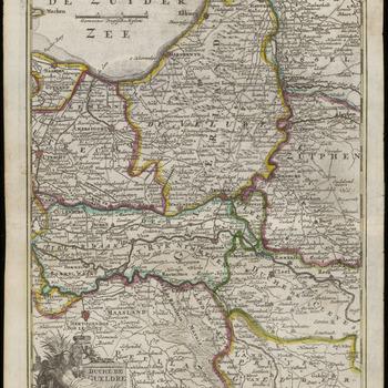 Een overzichtskaartje van het Hertogdom Gelre met het Rivierengebied, Utrecht, de Veluwe en Zutphen. Titel linksonder in cartouche versierd met allegorische figuur en het wapen van Gelre. Schaalaanduiding linksboven in de Zuiderzee. Schaalstok van 3 Gemeene Duytsche Mylen = 3,8 cm<br/>