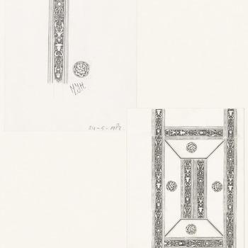 Een kopie van een decoratieve lijnsymetrische, met stroken gemaakte figuur. Het betreft hier een reconstuctie van het reliëfpatroon op de omslag van het Chronicon Tielense