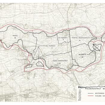 Kaart van de nieuwe grenzen van het Polderdistrict Bommelerwaard