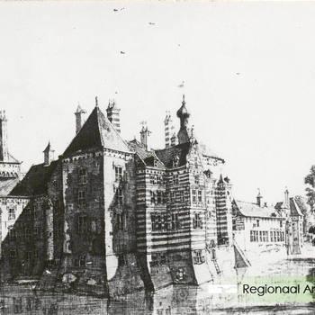 Reproductie prent van het voormalig kasteel.