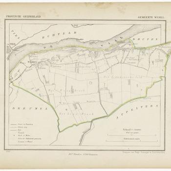 Een gemeente kaartje van Wamel. De gemeente grens is ingetekend en ingekleurd