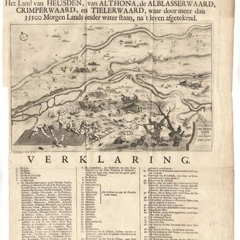 Kaart van de watersnood van 1740-1741 in het rivierengebied, met legenda