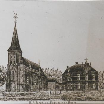 Foto van tekening uit 1886, zoals het er in die tijd uit zag, kerk en parochie.