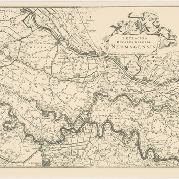 Een overzichtskaart van het gebied van het Hertogdom Gelre en het Kwartier van Nijmegen van Gorinchem tot Nijmegen. Rechtsboven de titel in een met engeltjes (putti) en het wapen van Gelderland versierde cartouche