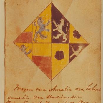 Wapen van Amalia van Solms gemalin van Stadhiouder Prins Frederik Hendrik van Oranje, afkomstig van het slot te Buren