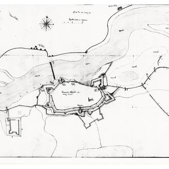 Kaart van de vesting Zaltbommel ten tijde van het beleg door de Spanjaarden in 1599
