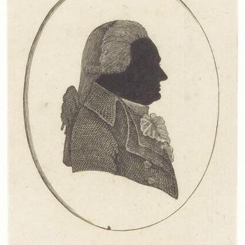Een silhouet van J.D. van Leeuwen, in een ellips afgebeeld. Mr. Johannes Diderick van Leeuwen was jurist, overheidsdienaar en patriot. Woonachtig geweest in Tiel , Utrecht en Kerk-Avezaath. Stichter van de eerste officiële begraafplaats buiten de stadsmuren met de naam Ter Navolging