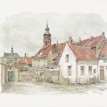 Een aanzicht van een buurtje in Buren met op de achtergrond de Nederlands-hervormde Sint- Lambertuskerk en links het stadhuis, 1978
