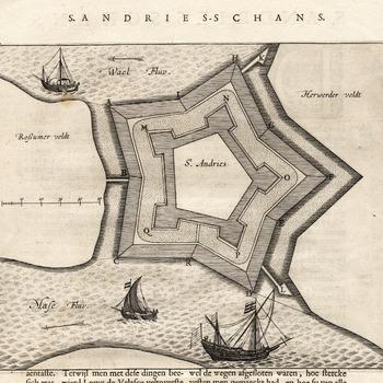 Plattegrond van fort (schans) Sint Andries