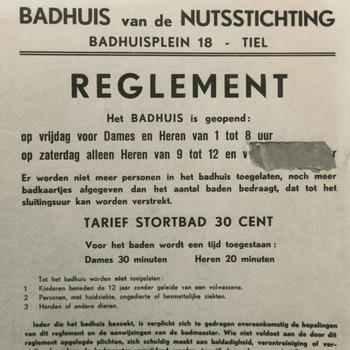 Het reglement van het Badhuis van de Nutsstichting, gelegen aan het Badhuisplein