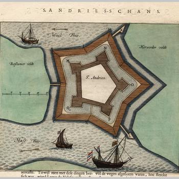Plattegrond van het fort (schans) - oud - Sint Andries