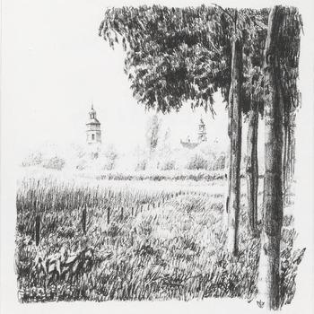 Gezicht op Buren met torens van de Ned. Herv. Kerk en het weeshuis.