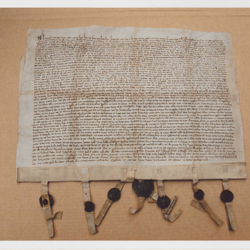 Oudste Charter van Culemborg over verlenen van Stadsrecht in 1318. Origineel in collectie