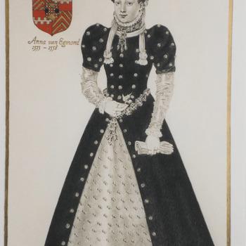 Foto van een tekening van P. Coman (Anna van Egmond) die tentoongesteld staan in het museum Buren en Oranje.