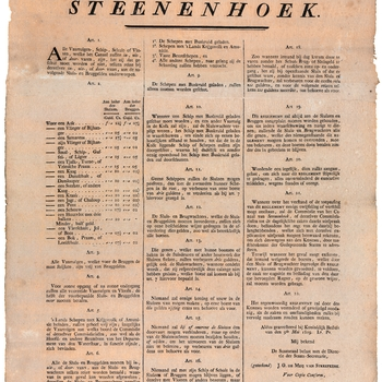Het reglement en tarievenlijst van de sluis- en bruggelden voor het Kanaal van Steenenhoek voor alle vaartuigen, schip- schuit- of vloten die het kanaal bevaren
