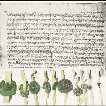 Een foto van het charter met de dijkbrief van graaf Reinald II van Gelre, met onderaan het charter tien zegels