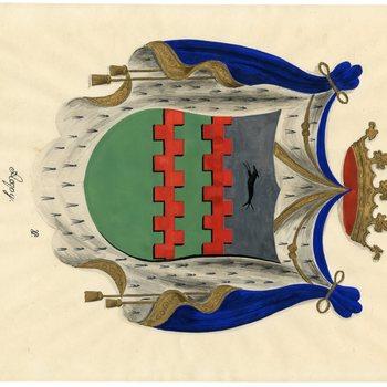 Een tekening van het wapen van Acquoy, dat als volgt wordt omschreven: In zilver twee beurtelings gekanteelde dwarsbalken van keel, in het schildhoofd vergezeld van een lopende hazewindhond van sabel