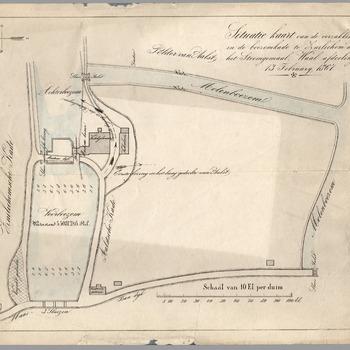 Situatie kaart van de verzakking in de boezemkade te Zuilichem aan het Stoomgemaal, Waal afdeling