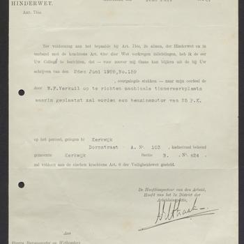 Bruchem, Dorpsstraat; Bouw schaaf en zaaginrichting, 19-07-1928