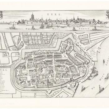 Een plattegrond van Tiel met boven een stadsprofiel vanaf de Waalzijde, met de wapens van Gelre en van Tiel. Links een legenda van de belangrijkste gebouwen. Op de Waal enkele zeilbootjes