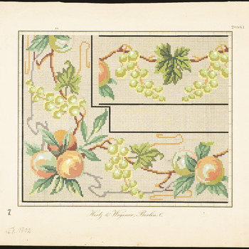 De voorstelling op dit borduurpatroon bestaat uit een rand met abrikozen en witte druiven. In het midden staat een tak met witte druiven. (jugendstil), 1835-1912
