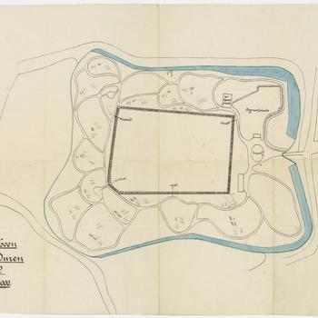 Een plattegrond van het plantsoen in Buren. Het betreft hier het gebied waar het voormalige kasteel van Buren heeft gestaan