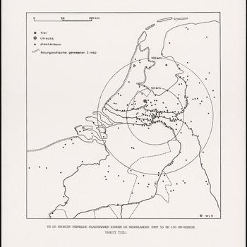 Een overzichtskaart van de Nederlanden en met stippen aangegeven plaatsen die in het Chronicon Tielense worden genoemd