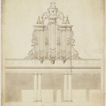Tekening van het front van een kerkorgel.