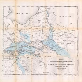 Een overzichtskaart van het rivierengebied met de Maas, Waal, Linge, Rijn, Lek en IJssel en de overstroomde gebieden