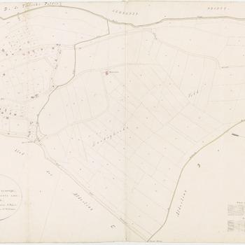 Kadastrale kaart van de afdeling C of sectie C van Zandwijk. Bij deze kaart is het westen boven. Vermeld zijn: Westrooijen, De Doode Linge, Kellensche Wetering en een gracht, laan en voorvliet, waarschijnlijk behorende bij het huis De Start. Links op de kaart het deel van Zandwijk waar de Konijnenwal en de Hoveniersweg bij horen