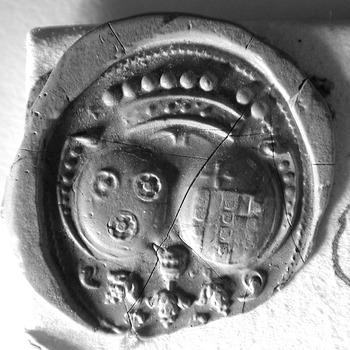 Zegel van: Quirinus Ramaker zegelt d.d. 19 juni 1748, als schepen in de Hoge Bank van Driel, met het alliantiewapen Ramaker-de Cocq