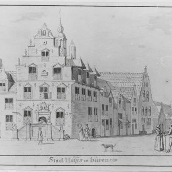 Tekening van het stadhuis.