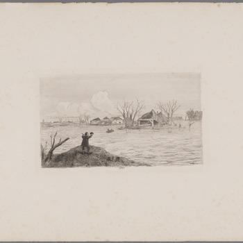 Dijkdoorbraak bij Poederoijen [Gezigt op de doorbraak in den Maasdijk te Poederoijen, 10 maart]