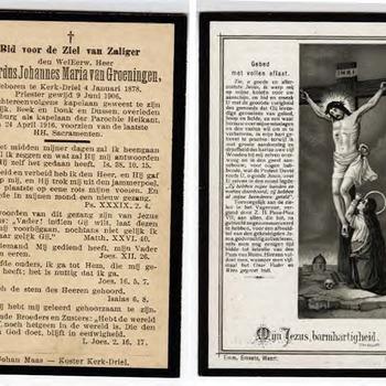 Bidprentje Gerardus Johannes Maria van Groeningen, 24-04-1916