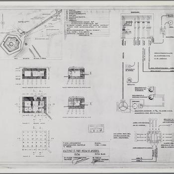Tekening voor de bouw van een kazemat op fort Nieuw Sint Andries, situatietekening, doorsnede, funderingsplan, verlichtings- en alarmeringsinstallatie