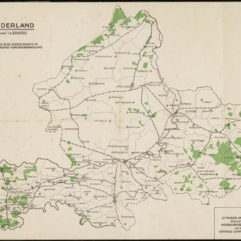 Een overzichtskaart van Gelderland met daarop in groen ingekleurde de gebieden die in aanmerking komen voor ruilverkaveling