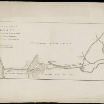 Een kaart van de Zuilichemse Binnenpolder en de Buiten Meidijksche polder bij Zuilichem, met de dijkdoorbraak. Het gebied tussen de Waal en de Maas. Linksboven de titel