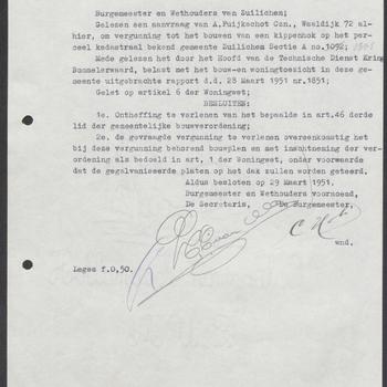 Zuilichem, Waaldijk 72; Bouw schuur, 29-03-1951