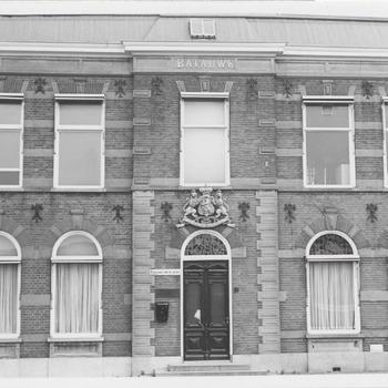 De voorzijde van het kantoor van de jamfabriek De Betuwe aan de Grotebrugse Grintweg
