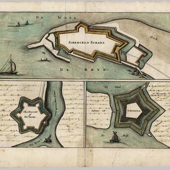 Plattegronden van de forten Nassau (De Voorn) en Sint Andries en de Schenckenschans