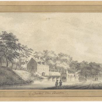 Een aanzicht van de toegangsbrug en de toegangspoort van het kasteel in Buren, 1753