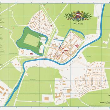 Een stadsplattegrond van Buren met links op de plattegrond een straatnamenlijst. Middenboven het wapen van Buren