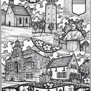 Ontwerp van een glas in loodraam met voorstellingen van het Hervormde kerkje te Alem, de Martinuskerk te Kerkdriel, het gemeentehuis aan het Mgr. Zwijsenplein, het borstbeeld van Mgr. Zwijsen en het huis genaamd Teisterbant in Kerkdriel met rechtsboven het gemeentewapen