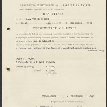 Aalst, Maasdijk 156; Bouw schuurtje, 06-09-1933