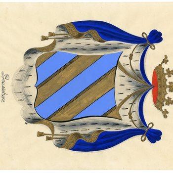 Een tekening van het gemeentewapen van Beusichem, dat als volgt wordt omschreven: Een schild van goud, beladen met drie banden van azuur, het schild gedekt met een gouden kroon met negen paarlen
