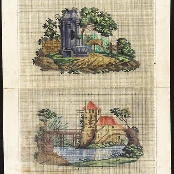 De voorstelling op dit borduurpatroon bestaat uit 2 voorstellingen met gebouwtjes<br/>1. een stenen waterplaats met een kraan en bekken, daarnaast een hert met een gewei, tussen de bomen<br/>2. een gebouw met toren en rood dak aan het water, een brug over water, bomen, [1820-1830]