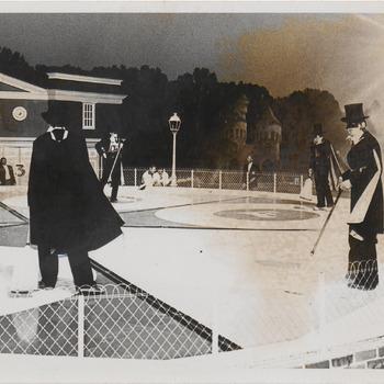 Spelzondergrenzen, deelnemers Buren, rechts Stef Laponder, Hier ging het fout tijdens bommenspel waarbij Buren de joker inzette.