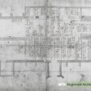 Plattegrond graven in de St. Lambertuskerk foto van tekening, met het tweede koor oudste gegevens met de namen op de graven.
